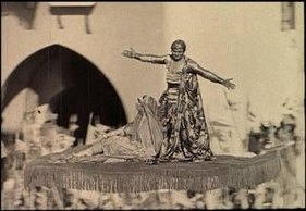 Douglas Fairbanks in the famous Flying Carpet scene in The Thief of Bagdad