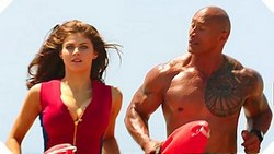 Alexandra Daddario and Dwayne Johnson hit the beach in the top 2017 comedy, Baywatch.
